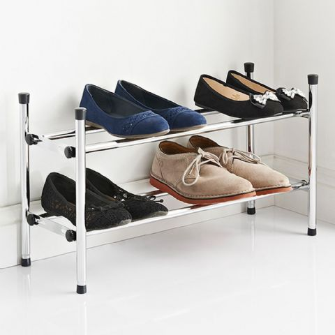 Wide Extending Chrome Shoe Rack
